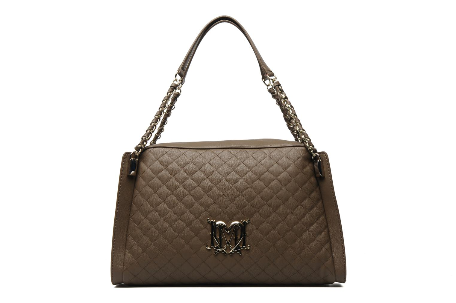 love moschino stitched edge bowling bag handbags in brown at 123786. Black Bedroom Furniture Sets. Home Design Ideas