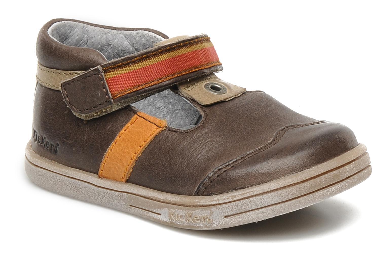 Schoenen met klitteband Kickers Teo Bruin detail