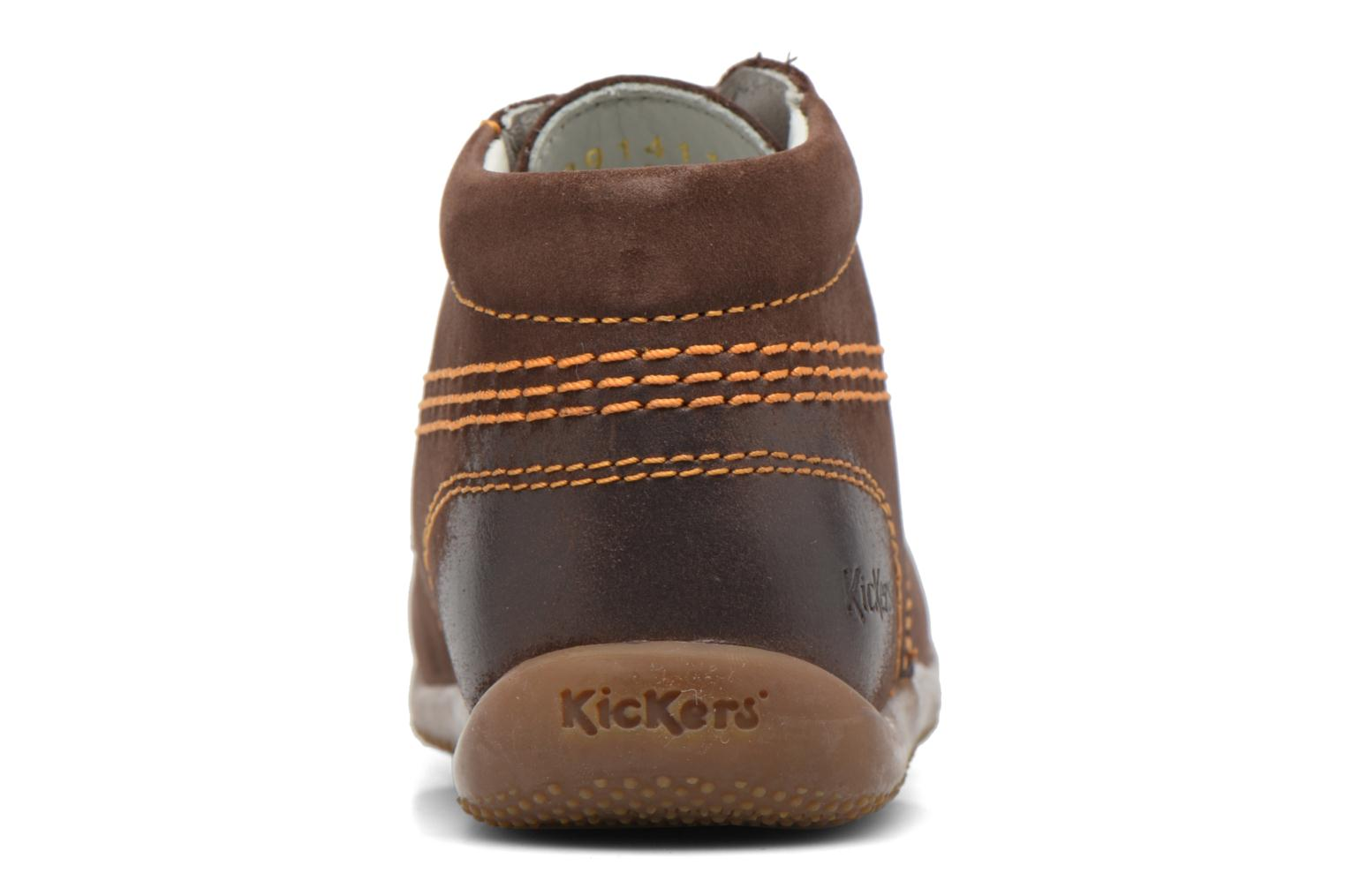 Zapatos con cordones Kickers Billy Marrón vista lateral derecha
