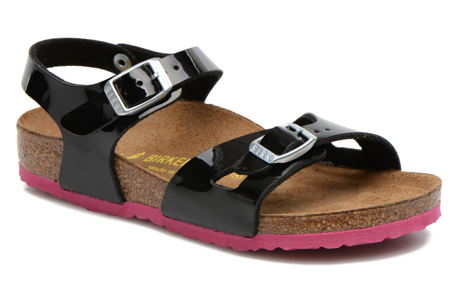 Sandals Birkenstock Rio Black detailed view/ Pair view