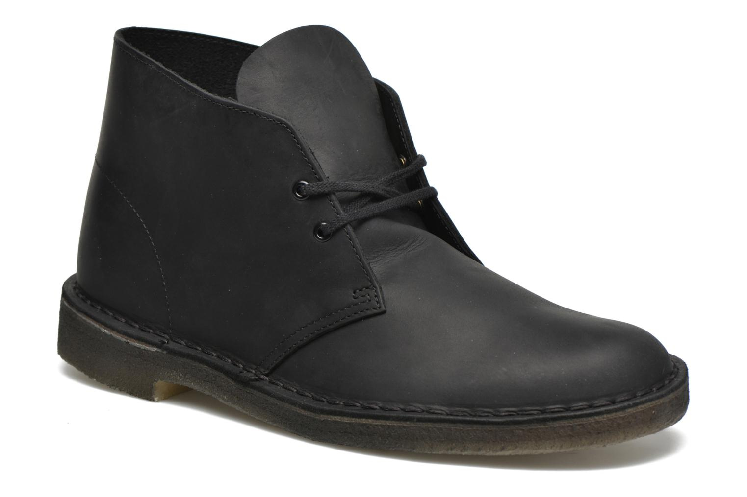 Lace-up shoes Clarks Desert Boot Black detailed view/ Pair view