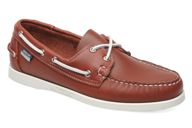 Snörade skor Sebago Docksides M Röd detaljerad bild på paret