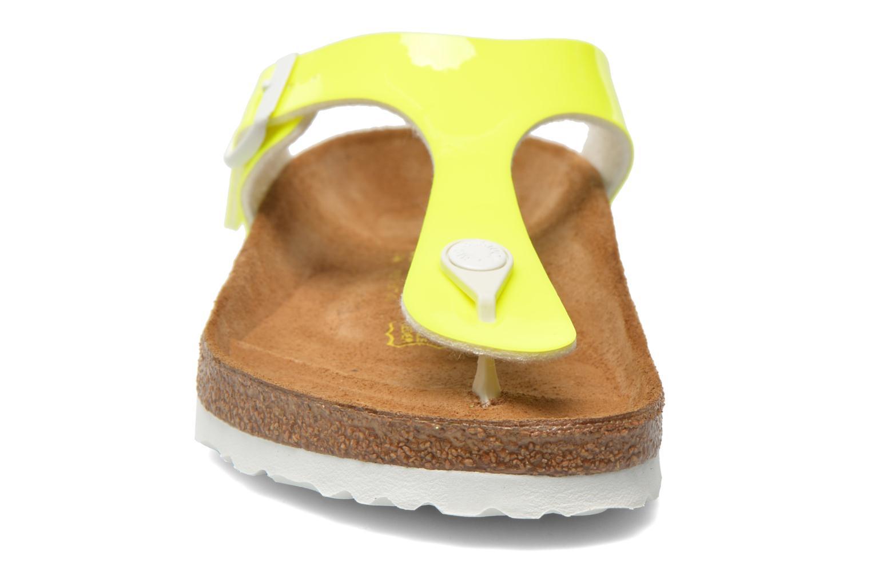 Sandalen Birkenstock Gizeh Flor W gelb schuhe getragen