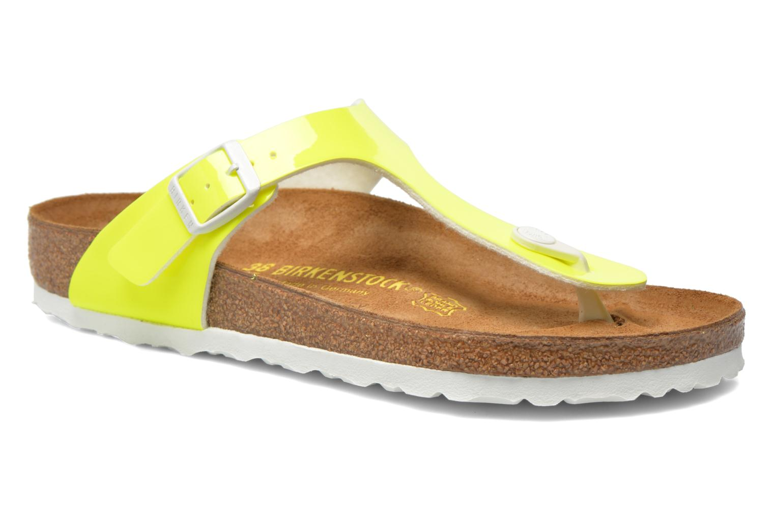 Sandals Birkenstock Gizeh Flor W Yellow detailed view/ Pair view