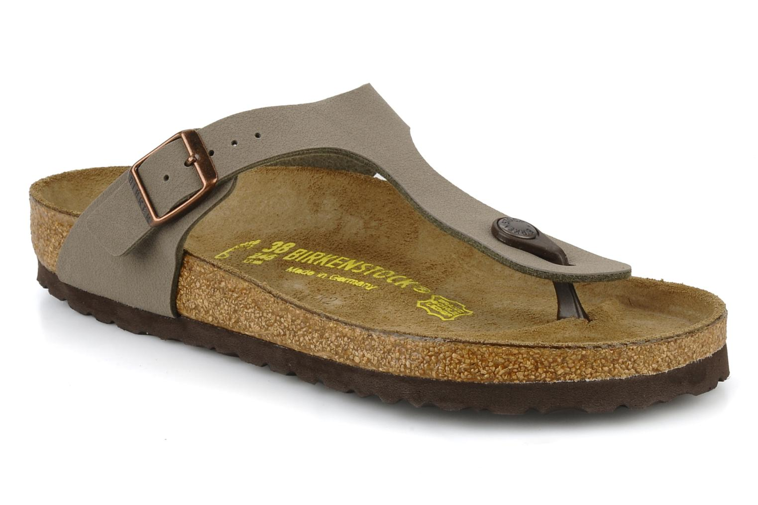 Sandals Birkenstock Gizeh Flor W Grey detailed view/ Pair view