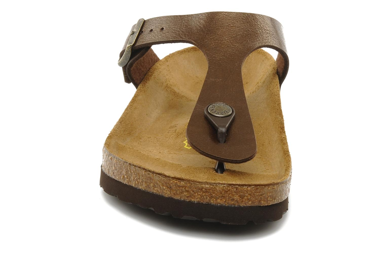 Sandalen Birkenstock Gizeh Flor W braun schuhe getragen