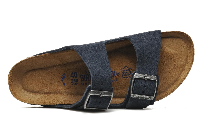 Sandalen Birkenstock Arizona Velours M Blauw links