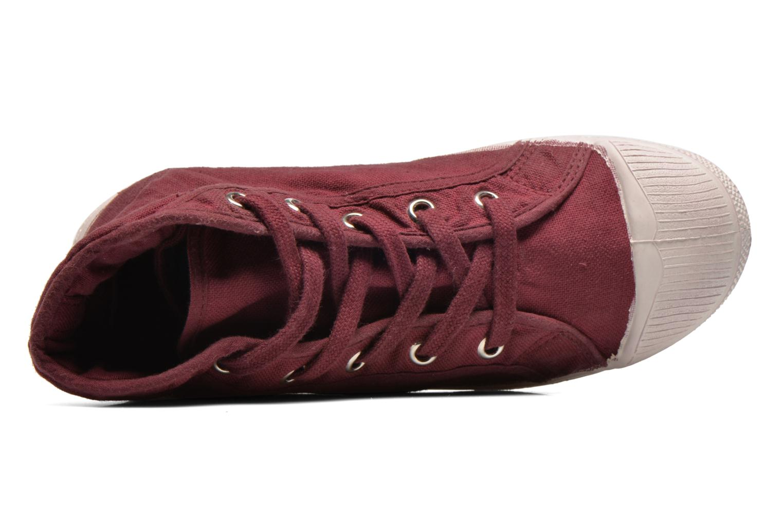 Trainers Bensimon Tennis Mid E Burgundy view from the left
