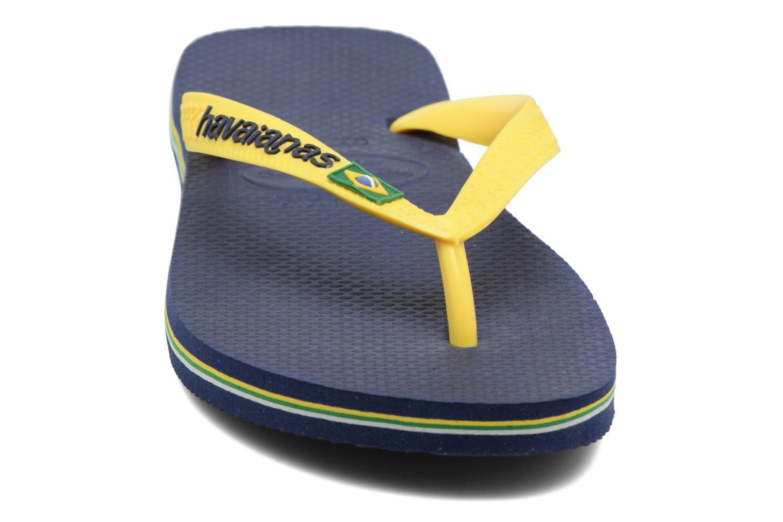 Tongs Havaianas Brazil Logo H Bleu vue portées chaussures