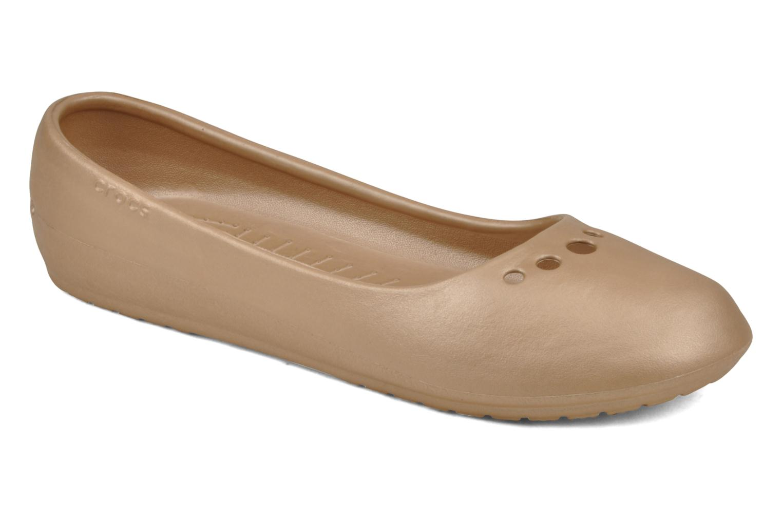 Ballet pumps Crocs Prima Bronze and Gold detailed view/ Pair view
