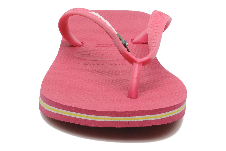 Tongs Havaianas Brasil Logo F Rose vue portées chaussures