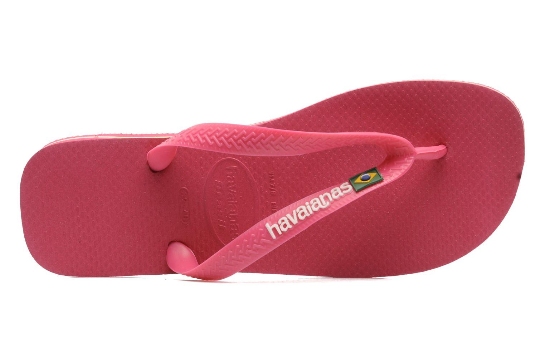 Zehensandalen Havaianas Brasil Logo F rosa ansicht von links
