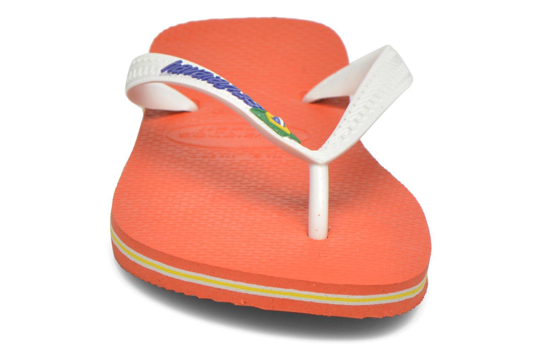 Chanclas Havaianas Brasil Logo F Naranja vista del modelo