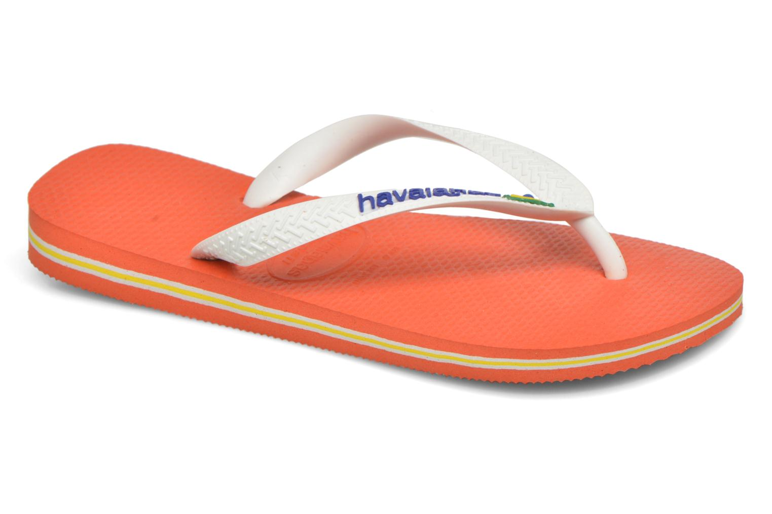 Tongs Havaianas Brasil Logo F Orange vue détail/paire