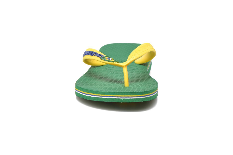 Zehensandalen Havaianas Brasil Logo E grün schuhe getragen