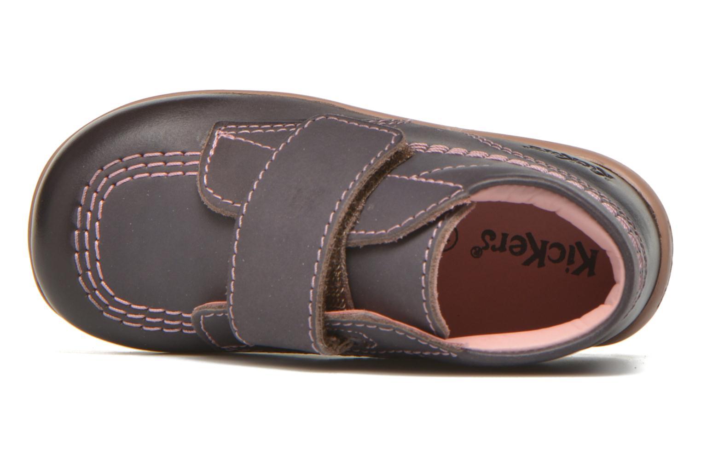 Schoenen met klitteband Kickers Bilou Paars links