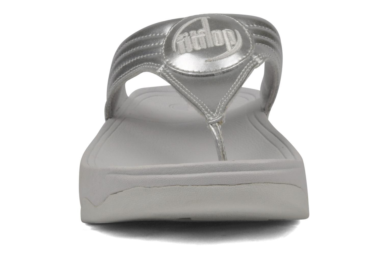 Zehensandalen FitFlop Walkstar III silber schuhe getragen