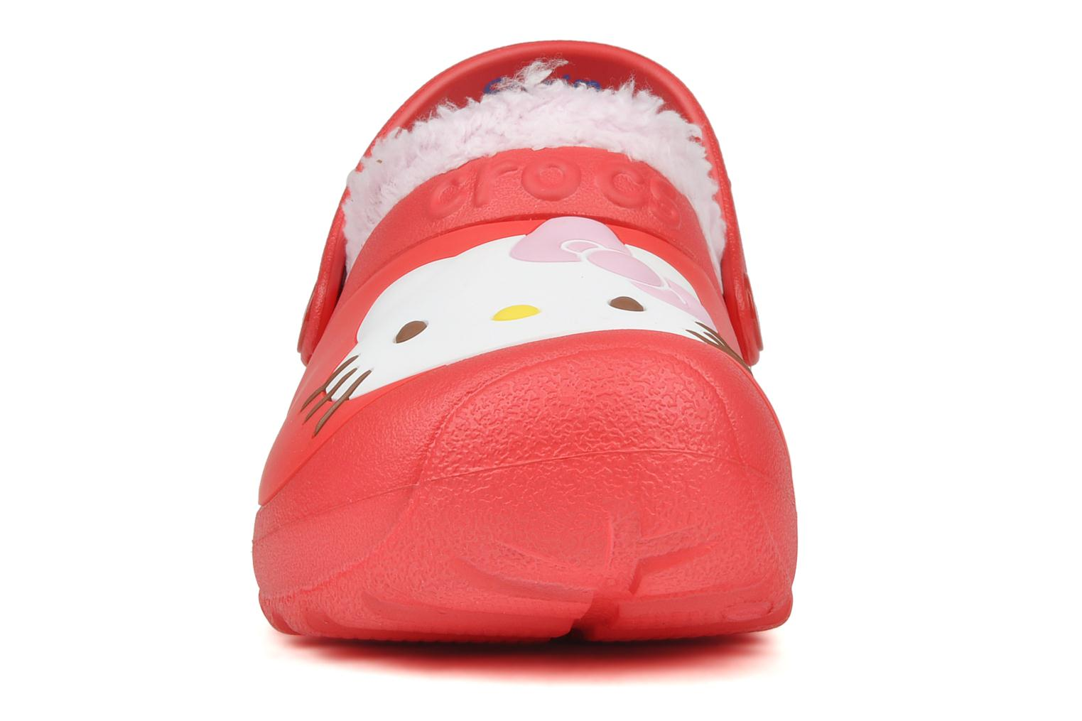 Sandals Crocs Hello kitty lined custom clog Red model view