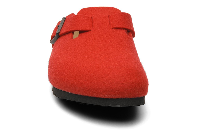 Mules et sabots Birkenstock Boston Laine W Rouge vue portées chaussures