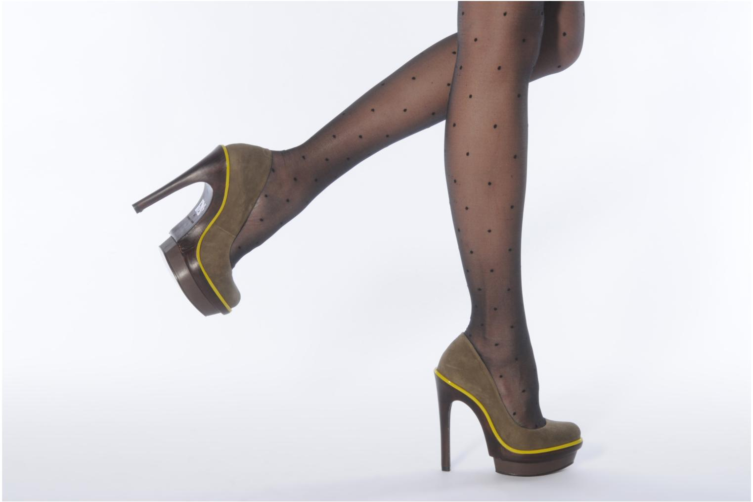 High heels Carvela Alpha Green view from underneath / model view