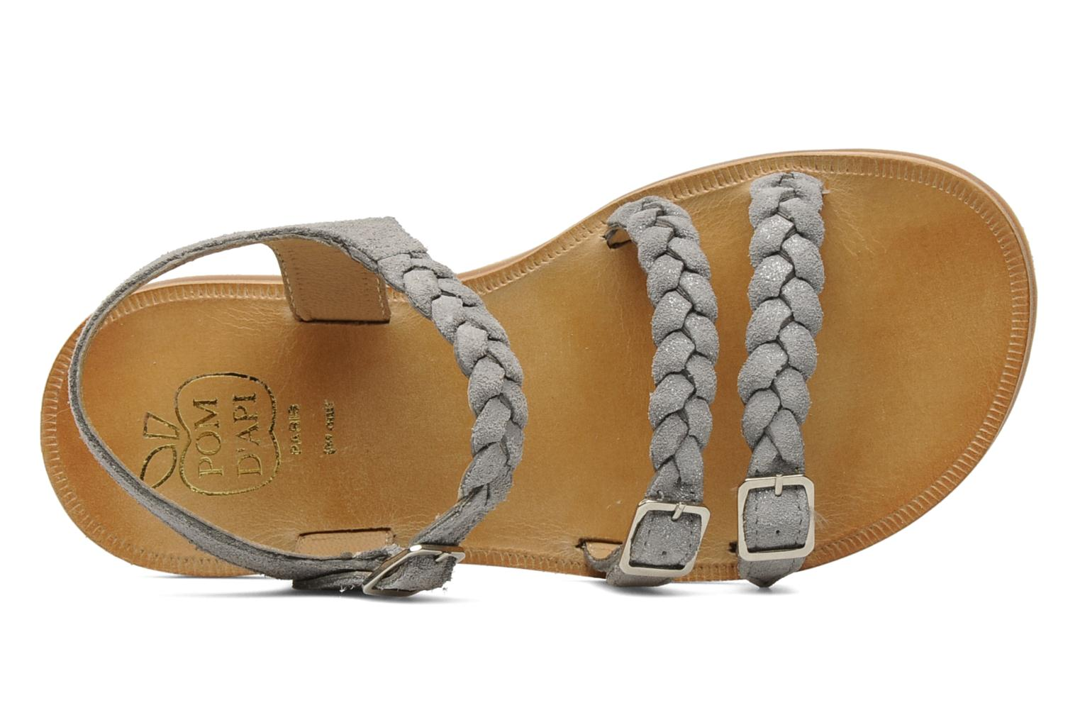 Sandals Pom d Api Plagette gaspard Grey view from the left
