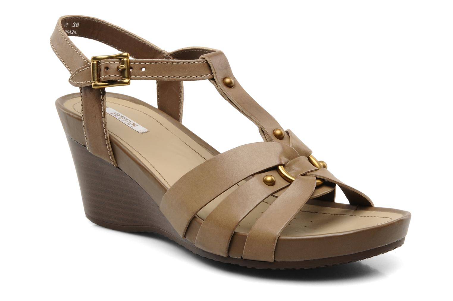 Sandals Geox D roxy z Brown detailed view/ Pair view
