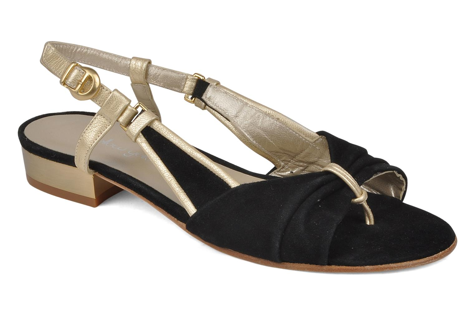 Sandals Mellow Yellow Janette Black detailed view/ Pair view
