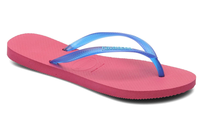 Slippers Havaianas Slim logo femme Blauw detail