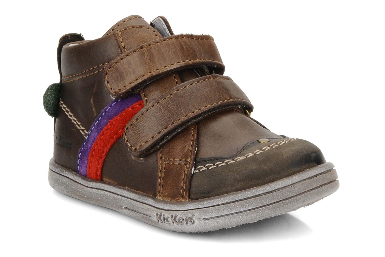 Schoenen met klitteband Kickers Taylor Bruin detail