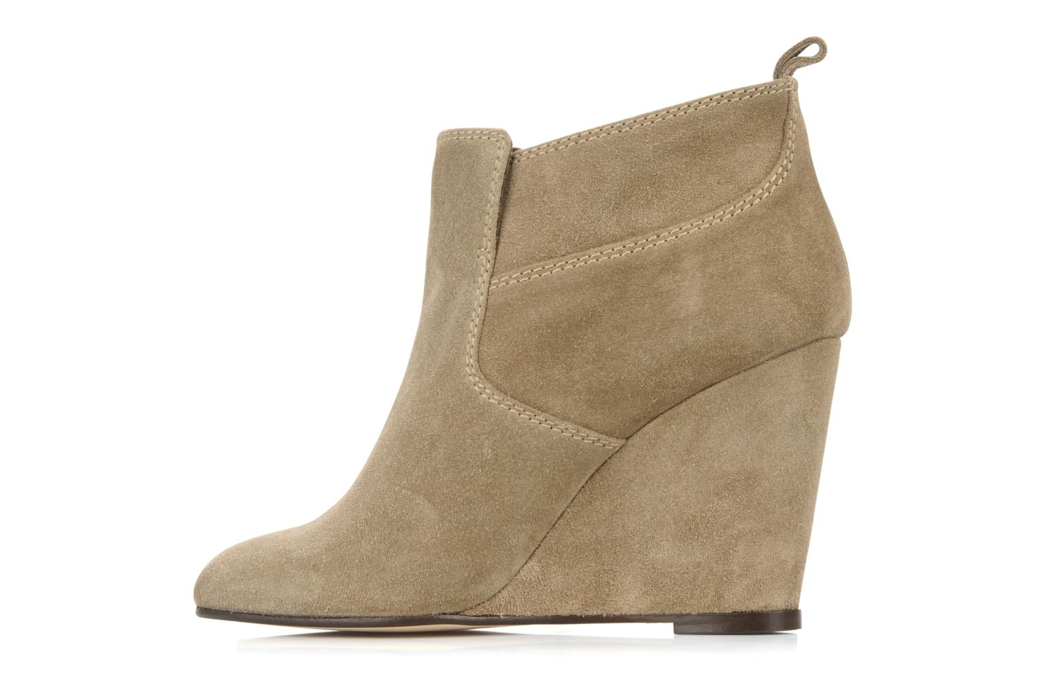 Ankle boots Tila March Wedge booty stitch suede Beige front view