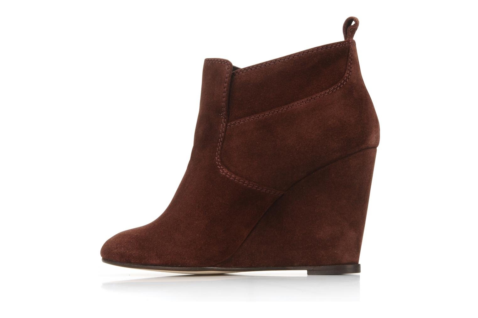 Ankle boots Tila March Wedge booty stitch suede Burgundy front view