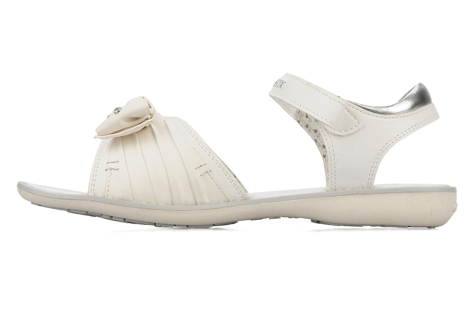 Sandals Geox J s.lime w White front view