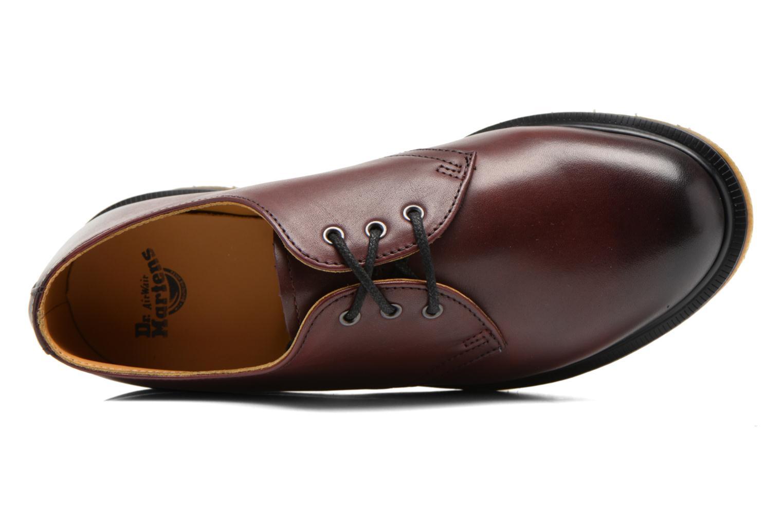 Snörade skor Dr. Martens 1461 w Vinröd bild från vänster sidan