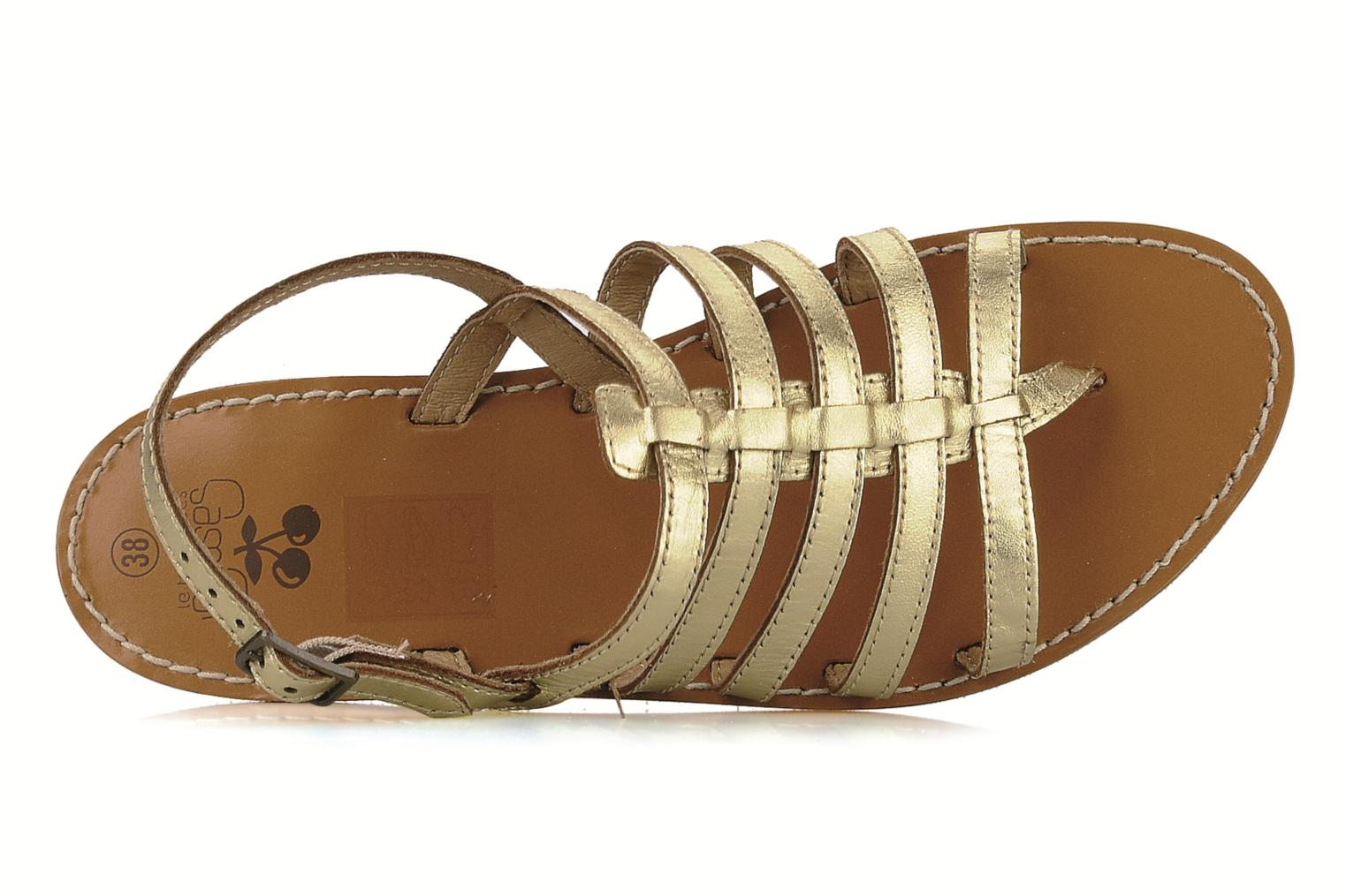 Sandals Le temps des cerises Sparti Bronze and Gold view from the left