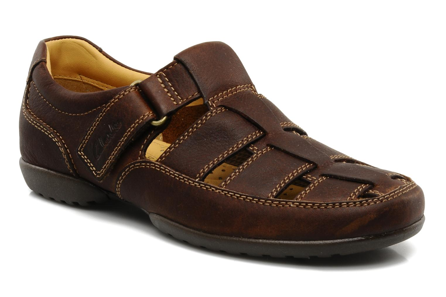 Sandals Clarks Recline Open Brown detailed view/ Pair view