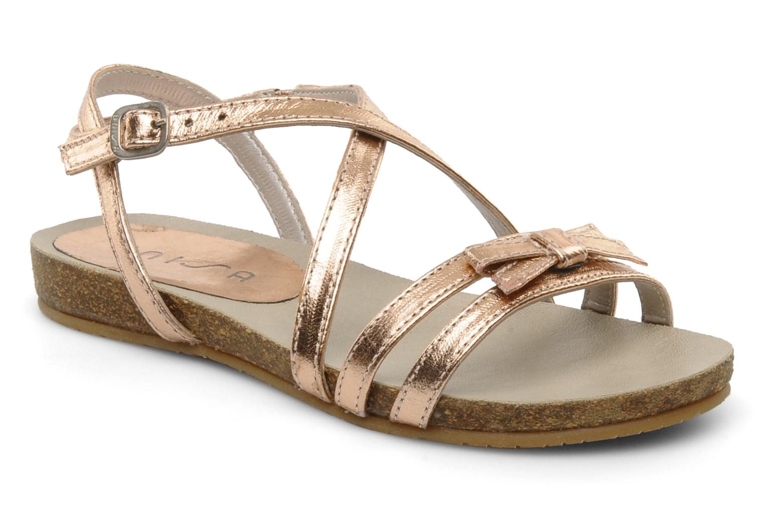 Sandals Unisa Matty Bronze and Gold detailed view/ Pair view