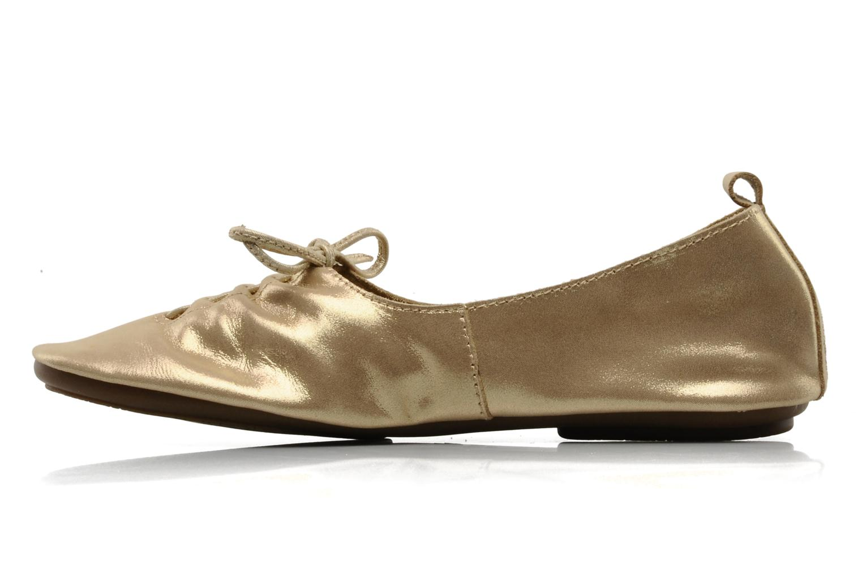 Ballet pumps Chocolate Schubar Daniel Bronze and Gold front view
