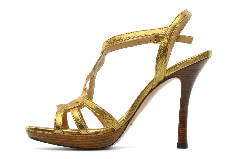Sandalias Pura Lopez Souna Oro y bronce vista de frente