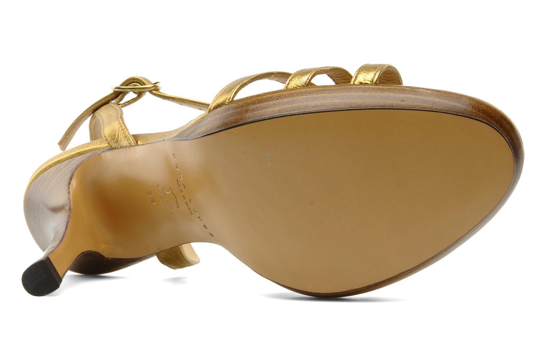 Sandalias Pura Lopez Souna Oro y bronce vista de arriba