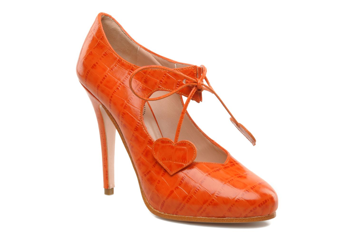 JACQUELINE ORANGE REPTILE EMBOSSED LEATHER