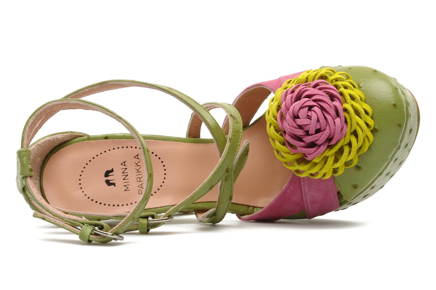 POMPOM SANDAL MINT GREEN OSTRICH EMBOSSED LEATHER