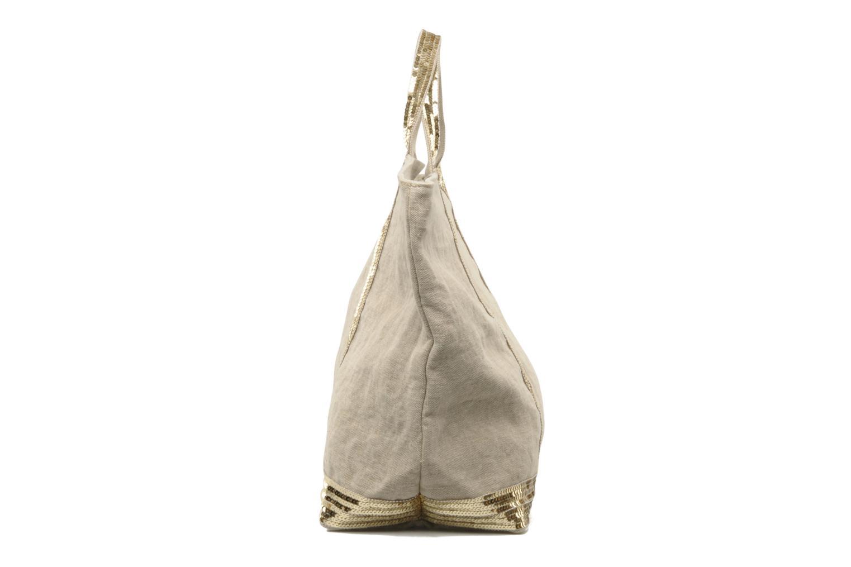 Handtaschen Vanessa Bruno Cabas Lin paillettes XL beige schuhe getragen