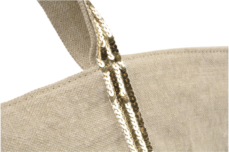 Handtaschen Vanessa Bruno Cabas Lin paillettes XL beige ansicht von links