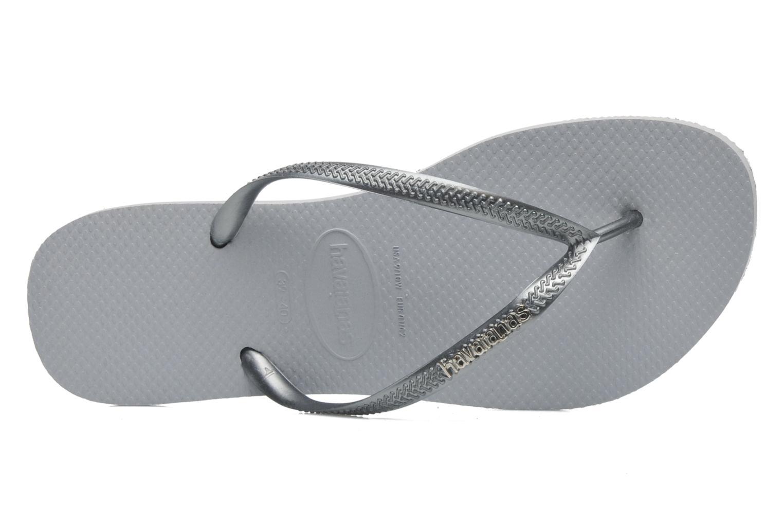 Zehensandalen Havaianas Slim Logo Metallic grau ansicht von links