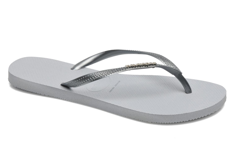 Flip flops Havaianas Slim Logo Metallic Grey detailed view/ Pair view