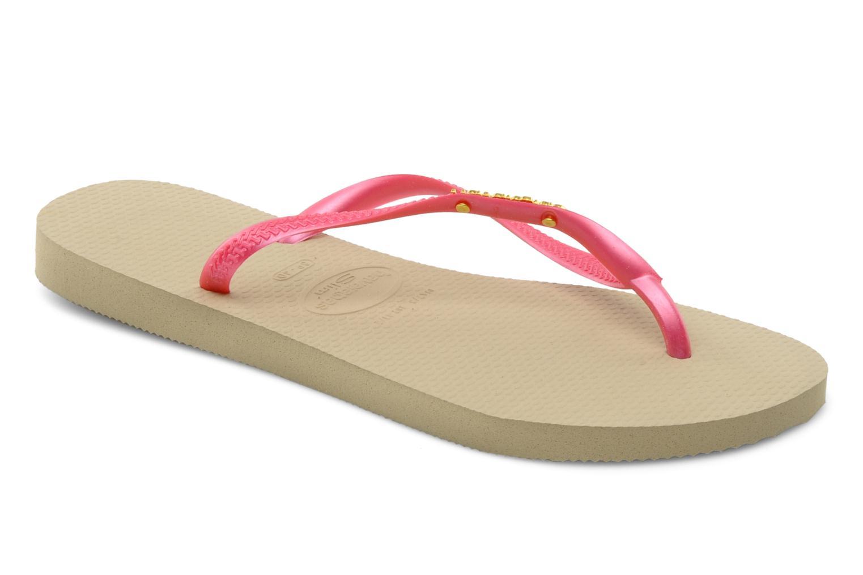 Zehensandalen Havaianas Slim Logo Metallic rosa detaillierte ansicht/modell