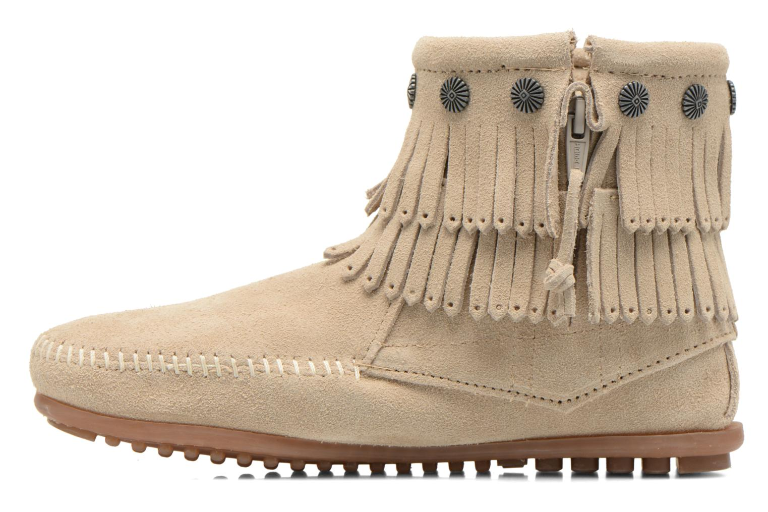 Ankle boots Minnetonka DOUBLE FRINGE BT Beige front view