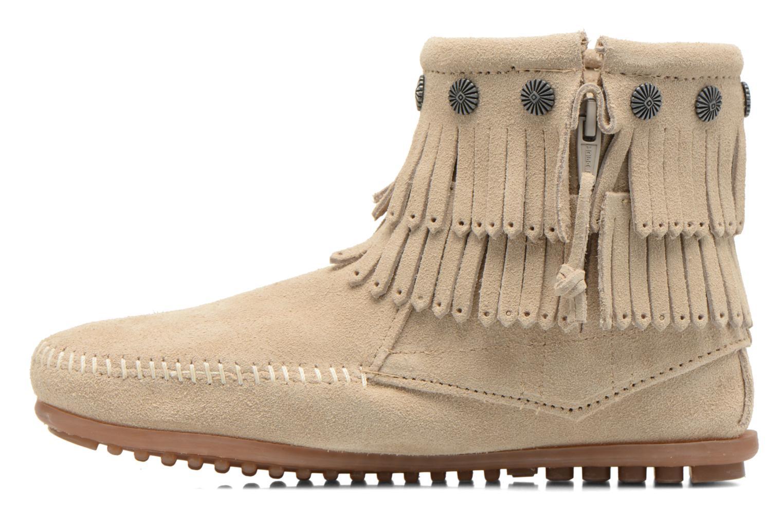 Bottines et boots Minnetonka DOUBLE FRINGE BT Beige vue face