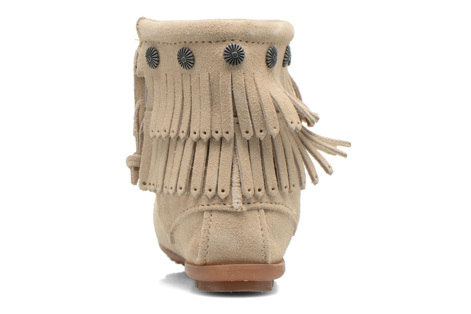 Ankle boots Minnetonka DOUBLE FRINGE BT Beige view from the right