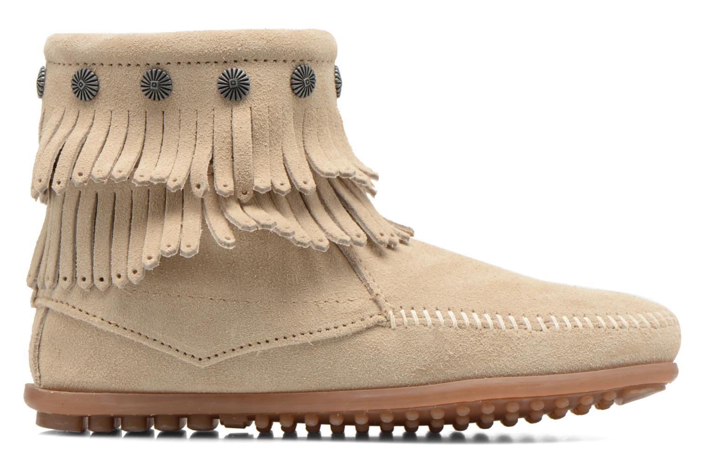 Boots Minnetonka DOUBLE FRINGE BT Beige bild från baksidan